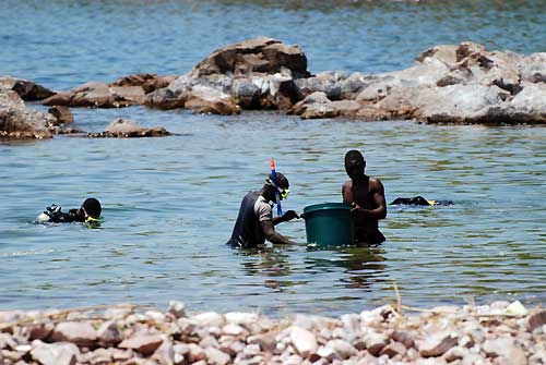 Fishermen at work from lake Tanganyika.