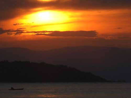 Sunset at lake Tanganyika.